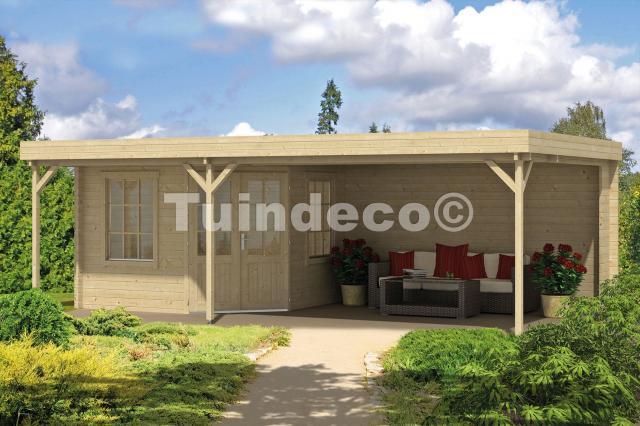 Blokhut Annette met veranda/platdak Geimpregneerd