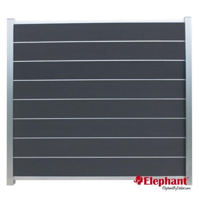 Composiet Modulair scherm rock grey /  alu geanodiseerd 180x180 cm incl. plaatsen