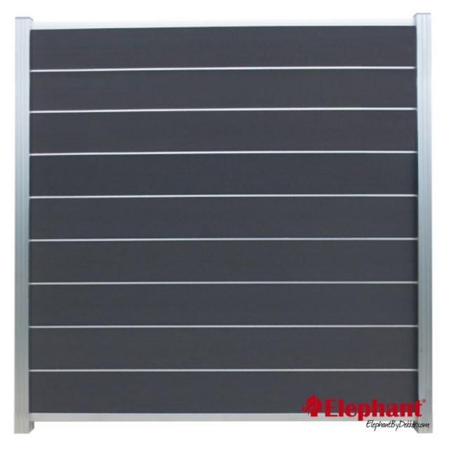 Composiet Modulair scherm rock grey /  alu geanodiseerd 180x200 cm incl. plaatsen