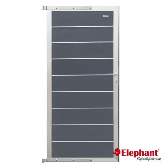 Composiet Modulair poort rock grey /  alu geadoniseerd 90x200 cm incl. plaatsen